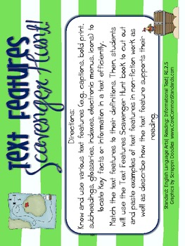 RI.2.5 Second Grade Common Core Worksheets, Activity, and Poster