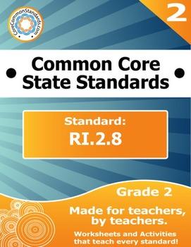 RI.2.8 Second Grade Common Core Bundle - Worksheet, Activity, Poster, Assessment