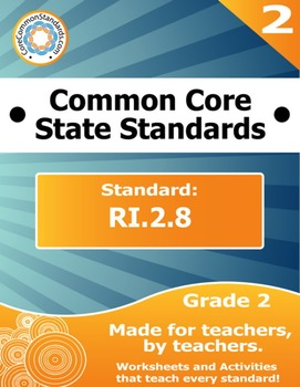 RI.2.8 Second Grade Common Core Bundle - Worksheet, Activity, Poster, Assessment