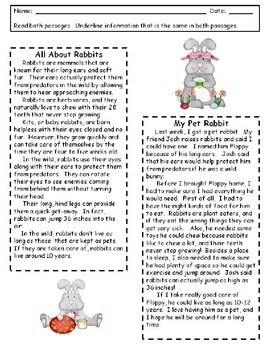 RI.2.9 Compare and Contrast Two Texts- Rabbits -Easter Theme