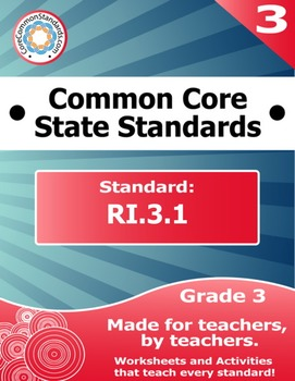 RI.3.1 Third Grade Common Core Bundle - Worksheet, Activity, Poster, Assessment