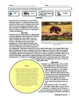 RI.3.1 RI.3.2 RI.3.4 RI.3.7 Common Core Informational 3rd Grade Yellowstone