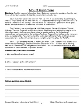 RI.3.1 Third Grade Common Core Worksheets, Activity, and ...