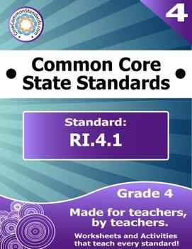 RI.4.1 Fourth Grade Common Core Bundle - Worksheet, Activity, Poster, Assessment