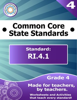 RI.4.1 Fourth Grade Common Core Bundle - Worksheet, Activity, Poster, Assessment