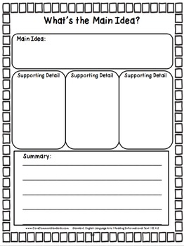 RI.4.2 Fourth Grade Common Core Worksheets, Activity, and Poster