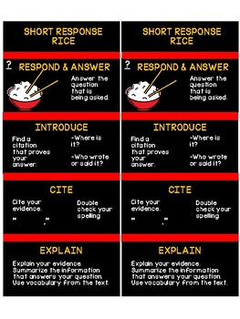 RICE Bookmarks for Short Response, TDA, and DBQ
