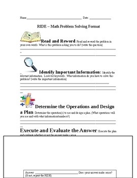 RIDE Problem Solving template