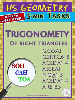 RIGHT  TRIANGLES (Geometry Curriculum Tasks/ Warm-Ups - Unit 12)