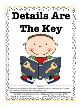 RI.K.1 Kindergarten Common Core Worksheets, Activity, and Poster