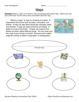 RI.K.2 Kindergarten Common Core Worksheets, Activity, and Poster