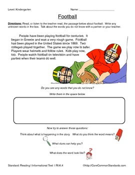 RI.K.4 Kindergarten Common Core Worksheets, Activity, and Poster