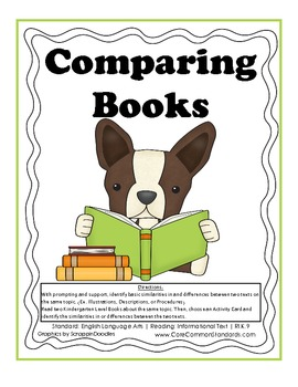 RI.K.9 Kindergarten Common Core Worksheets, Activity, and Poster