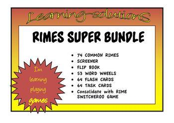 RIMES SUPER BUNDLE Complete-Screener/Task Cards and Flash Cards/Word Wheels+Game
