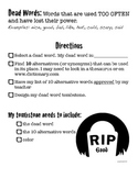 RIP Dead Words - October Synonym Writing Activity