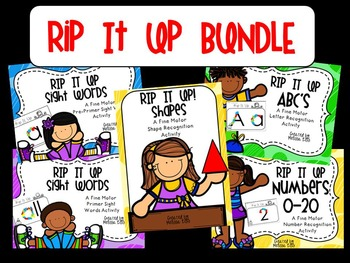 RIP it Up BUNDLE (DOLCH Words, Letter Recognition, Numbers 0-20, Shapes)