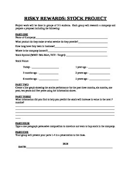 RISKY REWARDS: STOCK PROJECT, graph prices, persuade others to buy, worksheet