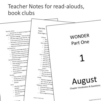 Wonder by R.J. Palacio - Read Aloud Packet (Response Journal, Teacher Notes)