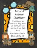 RL.1.1 No Prep Comprehension Stories- Blends, Digraphs & First Grade Sight Words