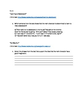 5th grade RL.1.1 questions with matching text links.