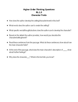 RL.1.3 Character Traits - 3rd Grade Learning Scale