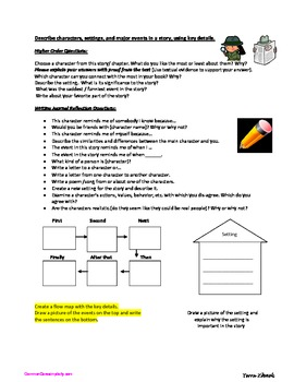 RL 1.3 Common Core Character Setting Events Response Reflection Journaling