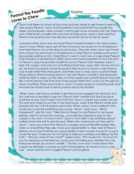 RL 2.3 Reading Passage Assessment (Peanut the Poodle Loves to Chew)