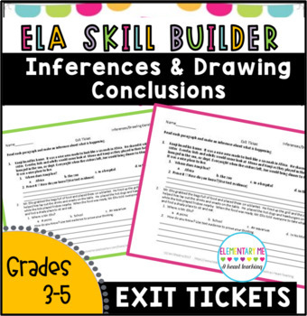 RL 3.1 --3 Short Exit Tickets NO PREP / Making Inferences/ Drawing Conclusions