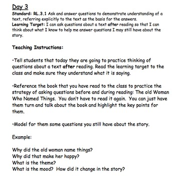 RL.3.1 Asking and Answering Questions Detailed Lesson Plans