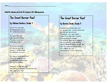 RL 3.5 Great Barrier Reef Poetry with Compare/Contrast Skill
