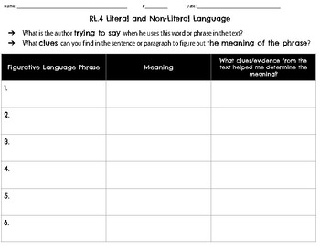 RL.4 Literal/Non-Literal Lang. Resource