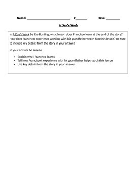 "R.L. 4.2 Theme: ""A Day's Work"" 4th Grade Common Core Questions"