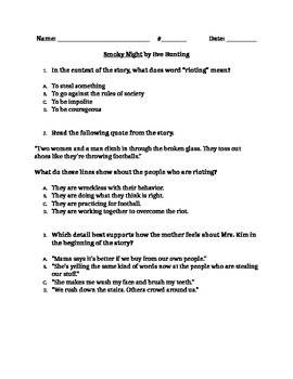 "RL 4.2 Theme: ""Smokey Night"" 4th Grade Common Core Questions"