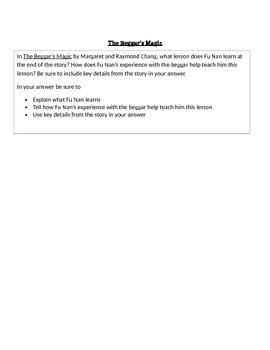 "RL 4.2 Theme: ""The Beggar's Magic"" 4th Grade Common Core Questions"