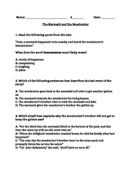 "RL 4.2 Theme: ""The Mermaid and the Woodcutter"" 4th Grade Common Core Questions"