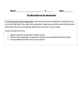 """RL 4.2 Theme: """"The Mermaid and the Woodcutter"""" 4th Grade Common Core Questions"""