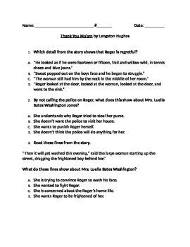 "RL 4.3 Character Traits: ""Thank You Ma'am"" by Langston Hughes"