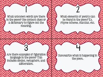 RL 4.5 Analyzing Poetry Task Cards