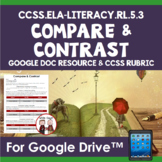 RL 5.3 Compare and Contrast Settings Characters and Events for Google Docs
