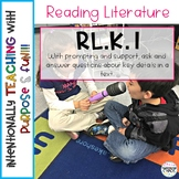 RL.K.1 Ask & Answer Questions about Key Details in a Text - Anchor Chart; Games