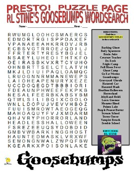 RL Stine's Goosebumps Series Puzzle Page (Wordsearch and Criss-Cross)