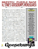 RL Stine's Goosebumps Series Puzzle Page (Wordsearch and C