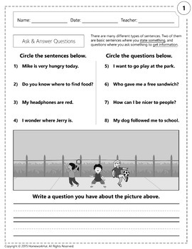 RL.1.1 - Ask and Answer Questions Worksheets