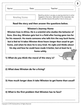 RL.1.2 - Retelling Stories Worksheets