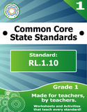 RL.1.10 First Grade Common Core Bundle - Worksheet, Activity, Poster, Assessment