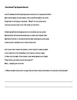 RL.1.4 and RL1.10 Poetry and Sense Words in Writing Assessment