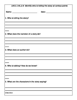 RL.1.6 Identify who is telling the story at various points