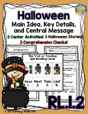 RL.1.2 Halloween Stories, Comprehension Checks, and Center