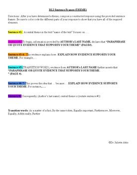 RL2 Constructed Response Sentence Frames Grades 6-12