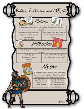 RL2 Fables, Folktales, and Myths Anchor Chart- 3rd Grade